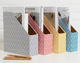 Recycled Geometric Magazine File Holder - covered in beautiful hand made Cotton Paper