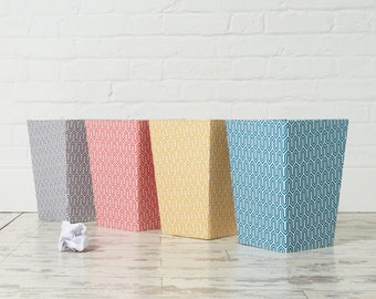 Recycled Geometric Waste Paper Bin - covered in beautiful hand made Cotton Paper