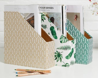 Recycled Tropical or Geometric Magazine File Holder - covered in beautiful hand made Cotton Paper