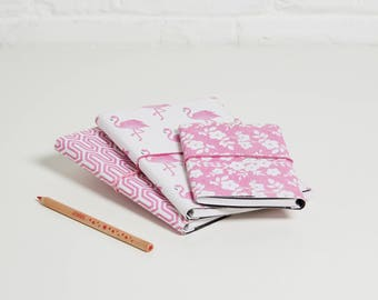 100% recycled pretty in  pink designs a5 notebook