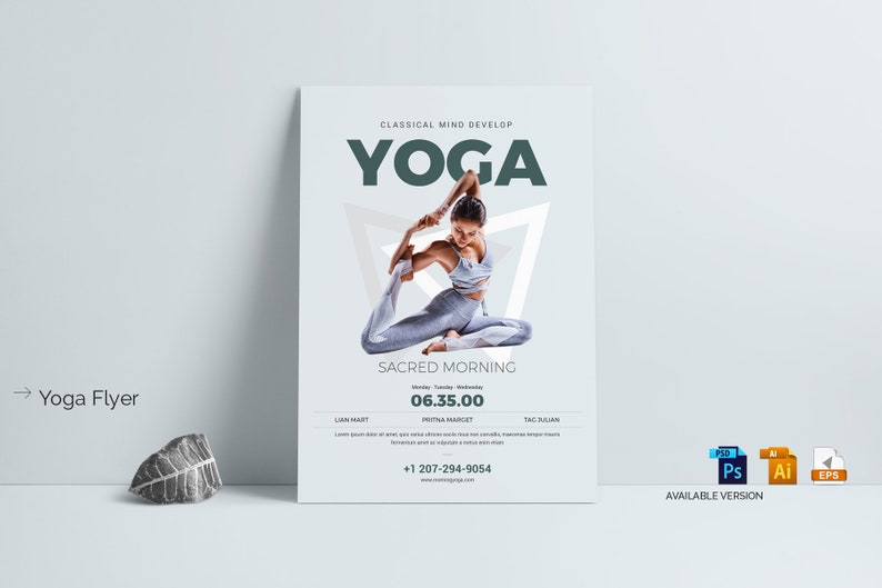 Yoga Flyer Template Fitness Class Invitation Instant Download