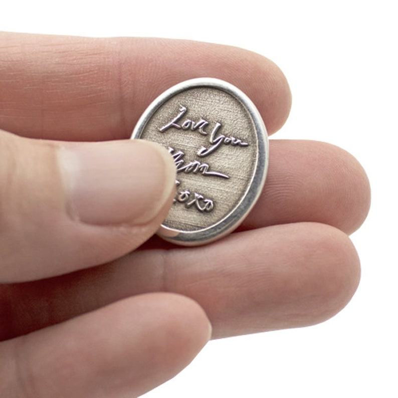 No Chamber Personalized Sterling Silver Pocket Stone Handwriting Comfort Charm