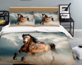 3D Horse  DW 75 View Bedding Bed Pillowcases Quilt Duvet Cover Set Twin Single Size Full Size Queen Size King Size Jessica