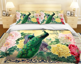 3D Peacock And Peony 5842 2 Bedding Bed Pillowcases Quilt Duvet Cover Set  Twin Single Size Full Size Queen Size King Size Jessica