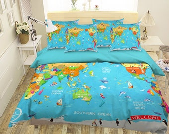 World map bedding etsy 3d world map 151 bedding bed pillowcases quilt duvet cover set twin single size full size queen size king size jessica gumiabroncs Gallery