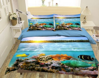 3D Sea life DW 77 View Bedding Bed Pillowcases Quilt Duvet Cover Set Twin Single Size Full Size Queen Size King Size Jessica