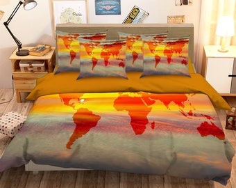 World map bedding etsy 3d sunset world map 126 bedding bed pillowcases quilt duvet cover set twin single size full size queen size king size jessica gumiabroncs Images