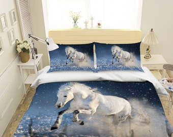 3d white horse dw 141 bedding bed pillowcases quilt duvet cover set twin single size full size queen size king size jessica - Horse Bedding