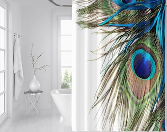 3d Peacock Feather 8 Shower Curtain Waterproof Fiber Bathroom Windows Toilet Curtains, Drapes & Valances
