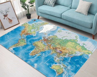 World map rug etsy 3d world map 63 non slip rug mat room mat quality elegant photo carpet bathroom office home quality living room gumiabroncs Image collections