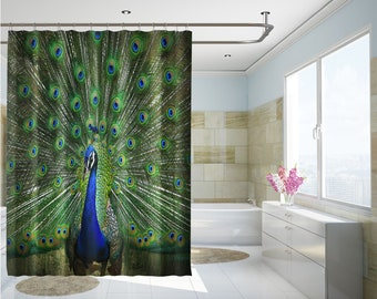 3d Peacock Feather 8 Shower Curtain Waterproof Fiber Bathroom Windows Toilet Shower Curtains