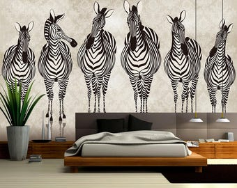 Zebra wall mural Etsy