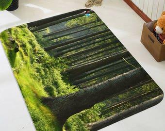 3D Green Forest 3 Non-Slip Rug Mat Room Mat Quality Elegant Photo Carpet bathroom office home quality living room