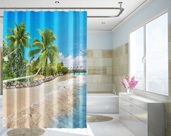 Palm shower curtain etsy