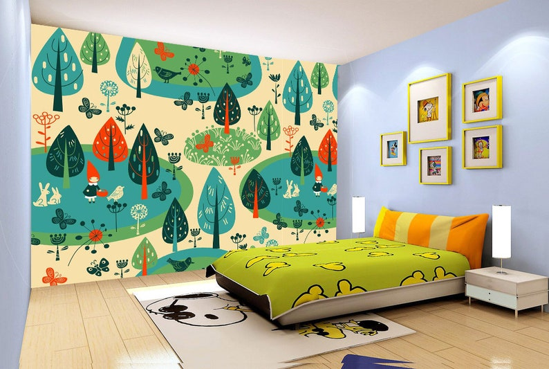 3d Cartoon Trees 538 View Wallpaper Mural Wall Print Decal Etsy