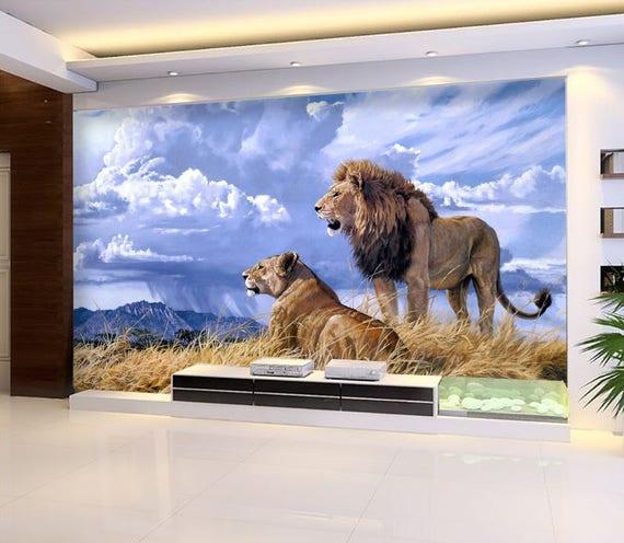3d Lowen Paar Ansicht 1055 Tapete Wandbild Wand Druck Etsy