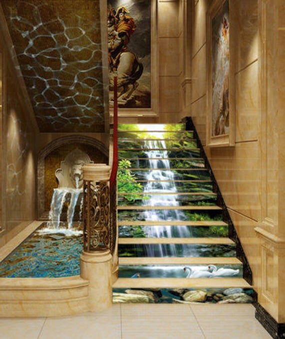 Au Naturelle Vinyl Wallcovering: 3D Waterfall Stone Forest View 65 Staircase Stairway
