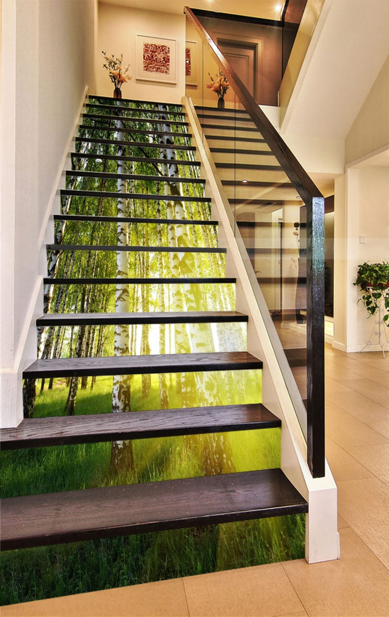 3D Poplar Grove View 285 Stairway Stairs Risers Stickers Mural Photo Mural  Vinyl Decal Wallpaper Removable