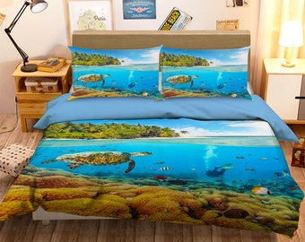 3D Sea turtle DW 187 View Bedding Bed Pillowcases Quilt Duvet Cover Set Twin Single Size Full Size Queen Size King Size Jessica
