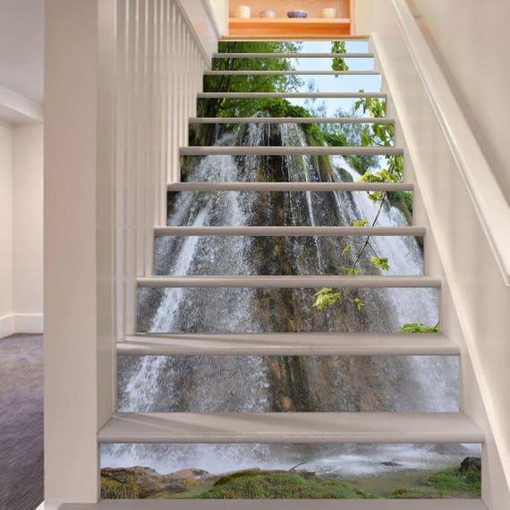 Cascades 3D vue 401 escalier escaliers contremarches Stickers murale Photo murale autocollant papier peint en vinyle amovible