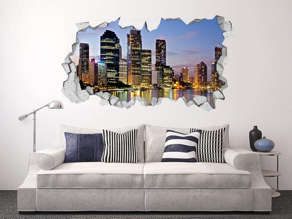3d hong kong night view 111 wall stickers decal breakthrough | etsy