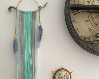 driftwood wool wall hanging - turquoise, light grey & blue | blue wall hanging, boho wall tapestry, living room decoration, nursery decor
