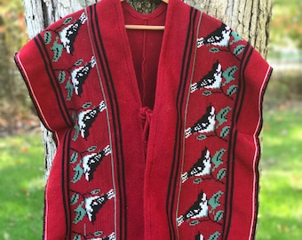 handmade red poncho/vest with bird pattern