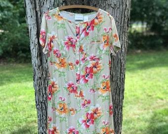 vintage liz claiborne short sleeve floral dress