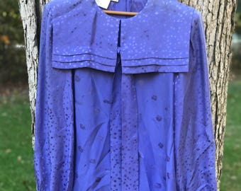 silk long sleeve periwinkle blouse with floral detail