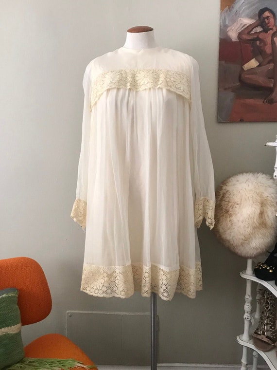 70's edwardian lace long sleeve shift dress