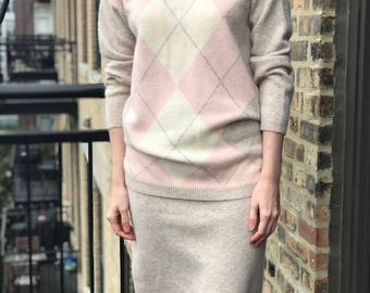 soft angora and lambswool pink argyle skirt and sweater separates