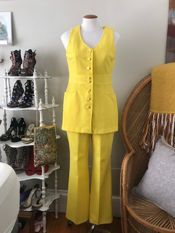 vintage 1960's bright yellow campus casuals flare