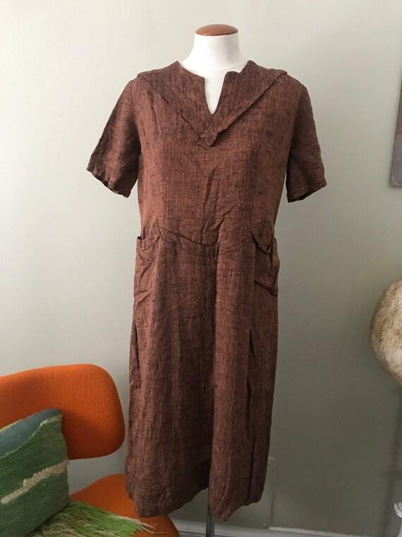 vintage brown linen aldens 50's dress