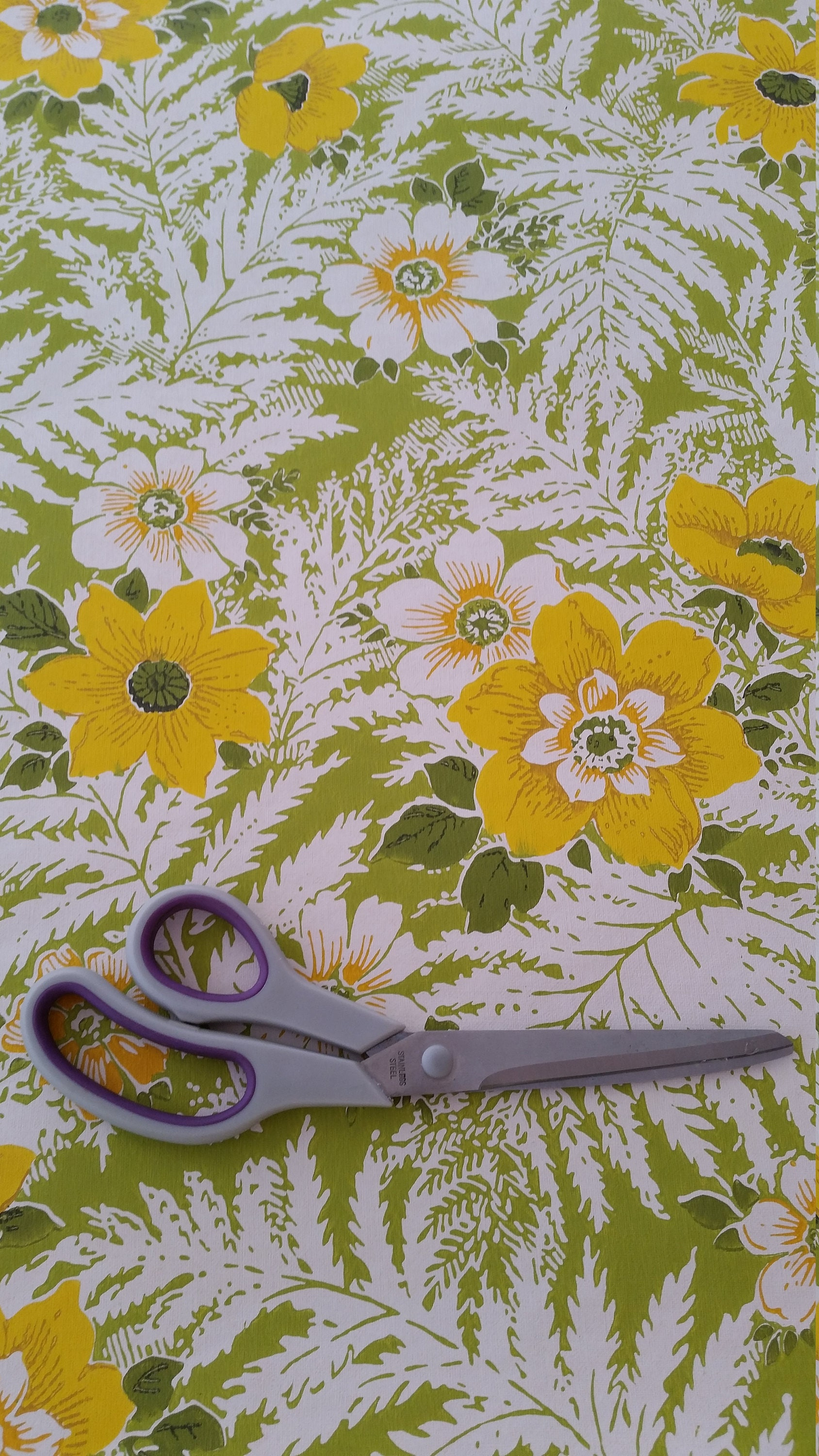 Vibrant Green And Yellow Floral Retro Vintage 1960 S Etsy