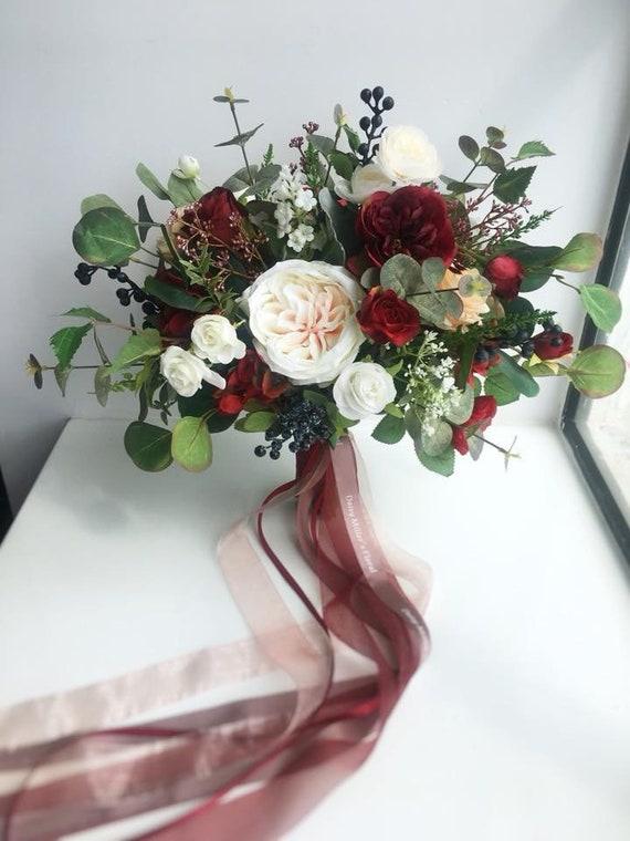 Hochwertige Rose Bordeaux Seidenblumen Dekoration Hochzeit Zum
