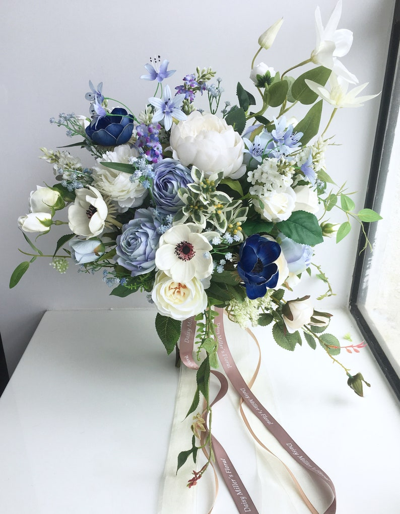 Artificial bouquet Wedding Bouquet blue roses High quality image 4