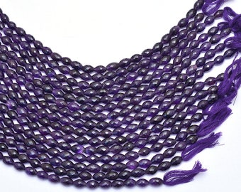 Natural Amethyst 8x12mm Tube Faceted Beads Amethyst Semi Precious Gemstone Loi Briolette Loose Beads Gemstone Rice Beads 7inch Strand