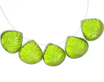 Gemstone Hydro Quartz Carved Pendant Beads 14mm Heart Bead Amethyst Leaf Carving Beads Amethyst Gemstone Quartz Leaf Carving Briolette