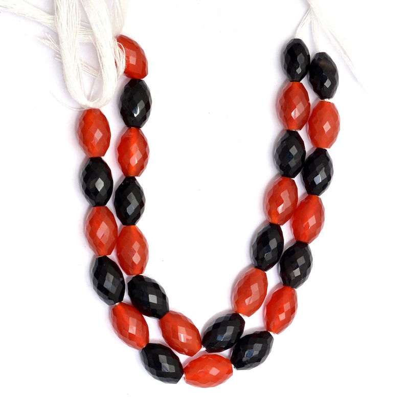 Natural Onyx Semi Precious Gemstone Loi Rare Beads for Jewelry 6.5inch Strand AAA Onyx Gemstone 8x12mm Barrel Tube Rice Faceted Beads