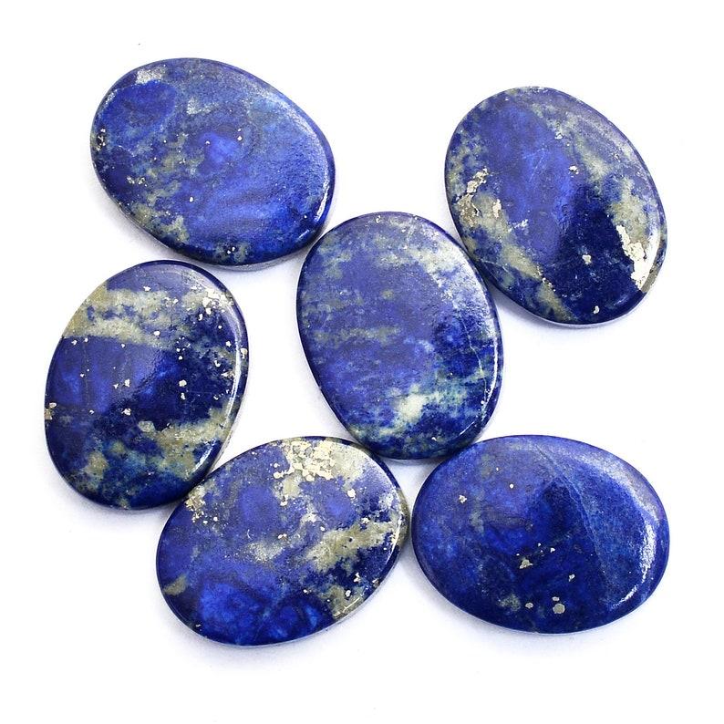 Deep Blue Natural Lapis Lazuli Loose Semi Precious Gemstone Lapis Lazuli Gemstone 12x16mm Flat Oval Cabochon Oval Disc 3mm Thickness