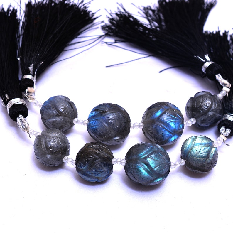 Labradorite Fire Semi Precious Gemstone Round Loose Beads Natural AAA Rare Laabradorite Gemstone Carving 12mm-14mm Beads 4 Beads Strand