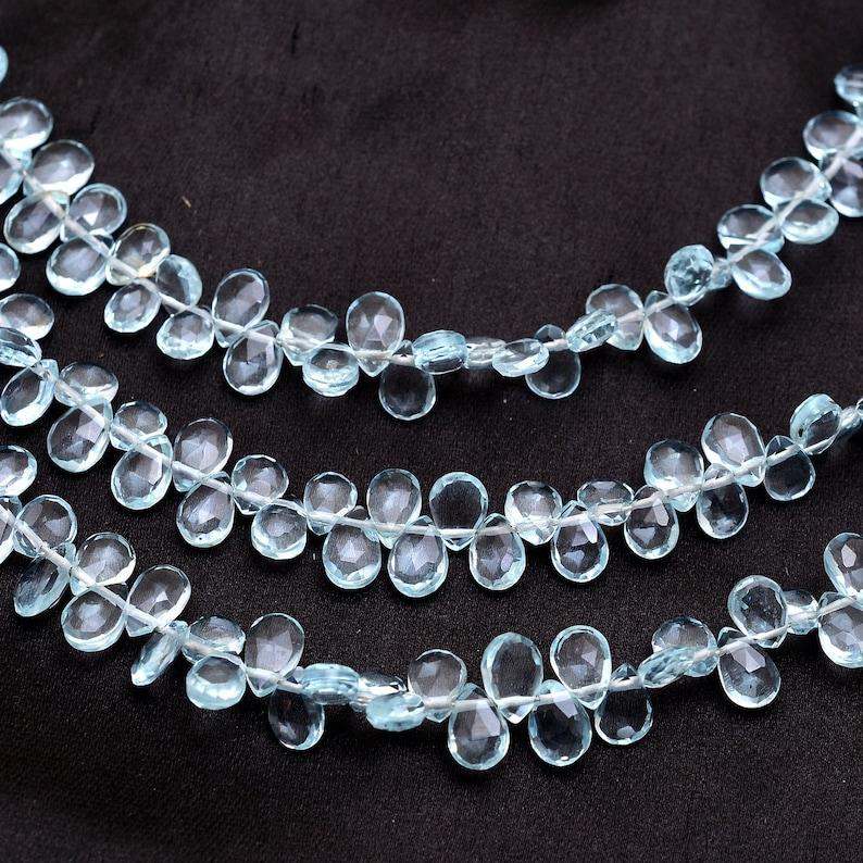 7 Strand Aquamarine Quartz 6x4mm Pear Briolette Beads AAA Aquamarine Color Hydro Quartz Semi Precious Gemstone Briolette Faceted Beads