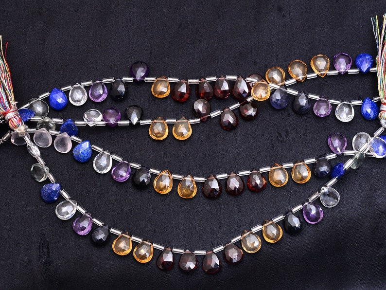 8inch Strand Natural Multi Semi Precious Gemstone Briolettes for Jewelry Making Gemstone Mix 8x10mm Faceted Pear Briolette Beads AAA