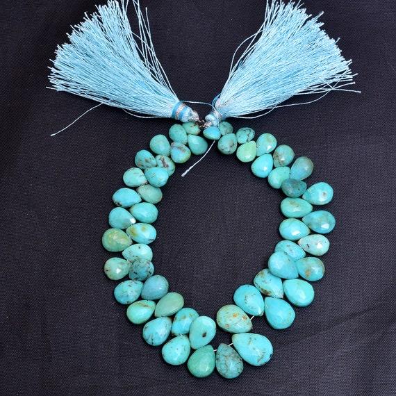 """Perles de turquoise poire Briolette   6x8mm-10x14mm   8 """"pouces Strand   Briolettes de pierres précieuses facettes naturelles Arizona AAA Turquoise   92 carats"""