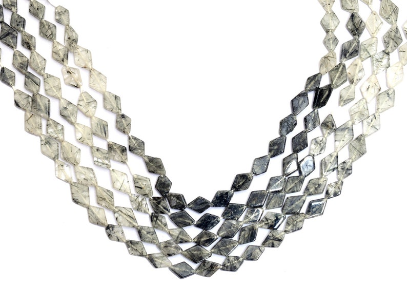 Black Rutilated Quartz Kite Beads 7x11mm Smooth Beads 14inch Strand Natural Black Rutile Semi Precious Gemstone Fancy Beads for Jewelry