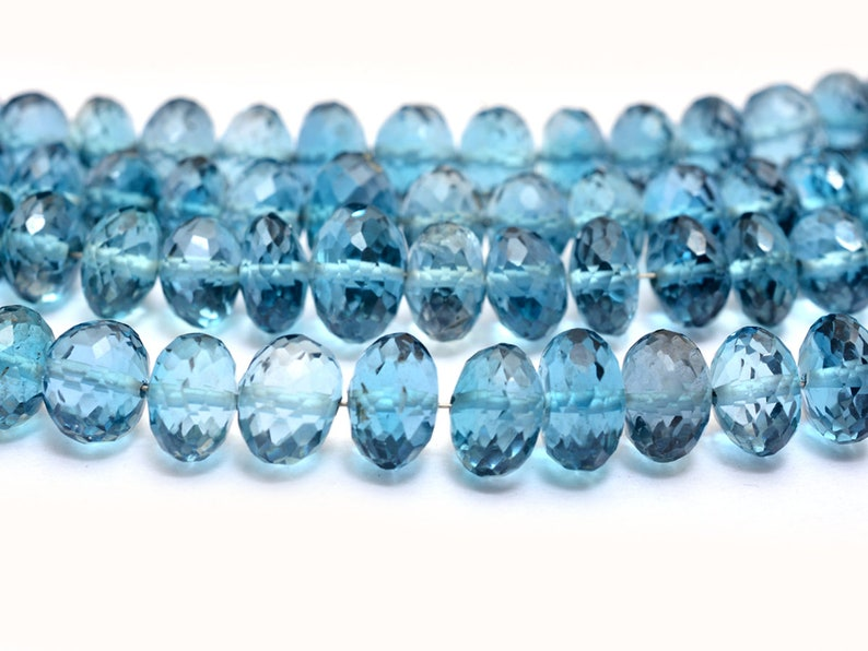 Genuine Fine Topaz Beads London Blue Topaz Gemstone 7mm-8mm Faceted Rondelle Beads Natural AAA Blue Topaz Semi Precious Gemstone Beads