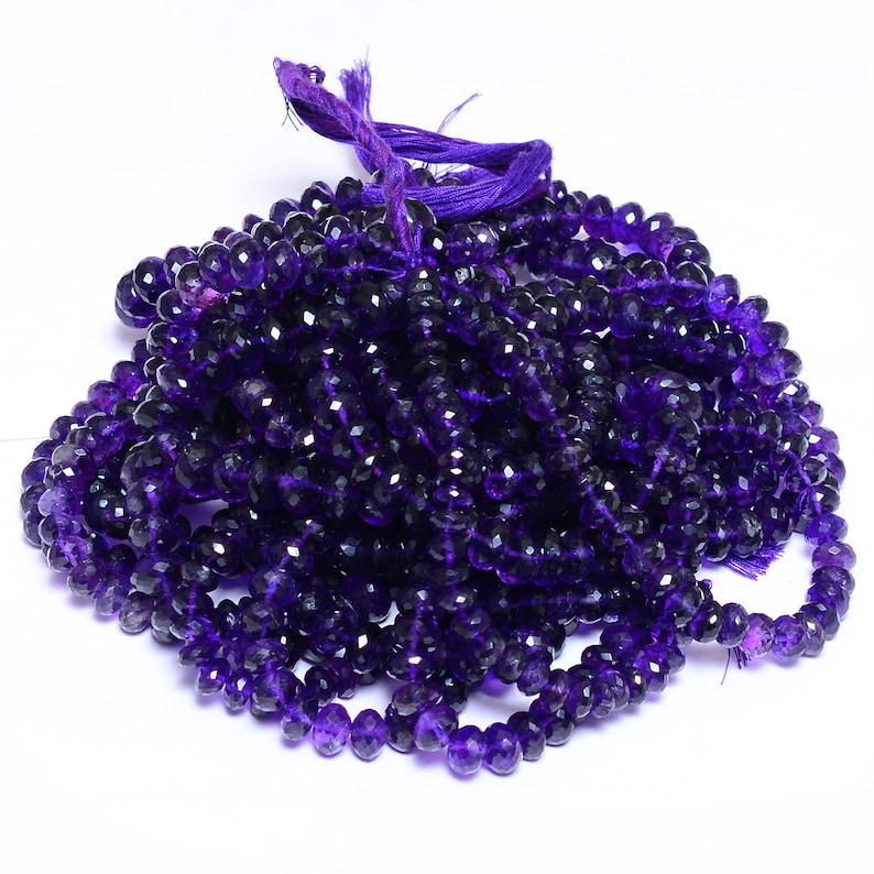 13inch Strand Natural African Amethyst Semi Precious Gemstone Loose Beads for Jewelry Amethyst Gemstone Faceted 8mm-10mm Rondelle Beads