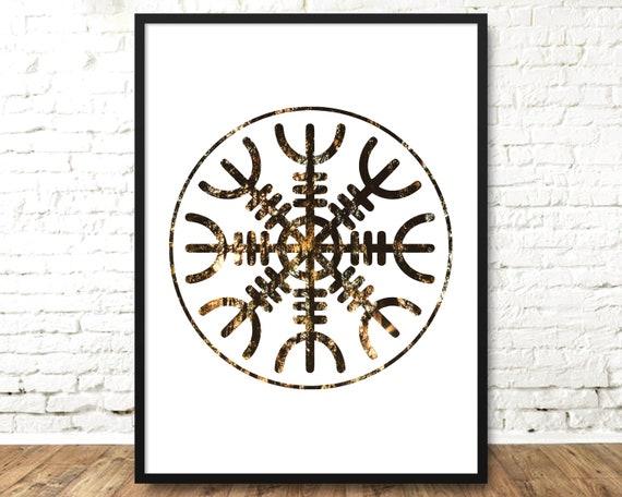 Helm Of Awe Rune Art Viking Poster Pagan Print Norse Etsy