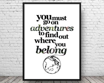 Travel Quote Print - Travel Wall Art - Travel Gift - Travel Home Decor - Travel Poster - Wanderlust Quote - Adventure Poster - Travel Print