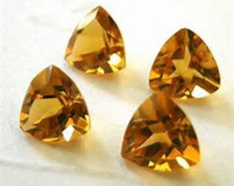 10 pieces citrine trillion faceted gemstone calibrated size